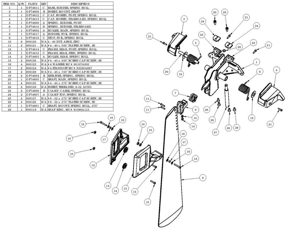 SEA-LECT Plastics Rudder Diagram